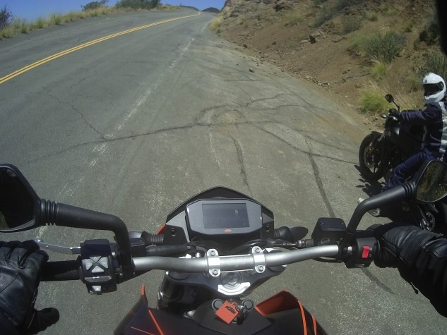 This screengrab from Sean's helmet cam shows how hard the KTM's TFT display is to see. Yes, the bike is running, but the display is pointed almost straight up and harsh sunlight blocks any view of the screen.