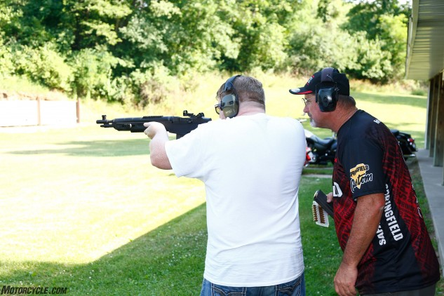 Leatham watches as MO Editorial Director Sean Alexander draws a bead with one of Springfield's SOCOM-16 CQB rifles. The two are kindred spirits, and though they had never met before this day, the rest of us began to wonder if they had been separated at birth – they're both just that goofy.