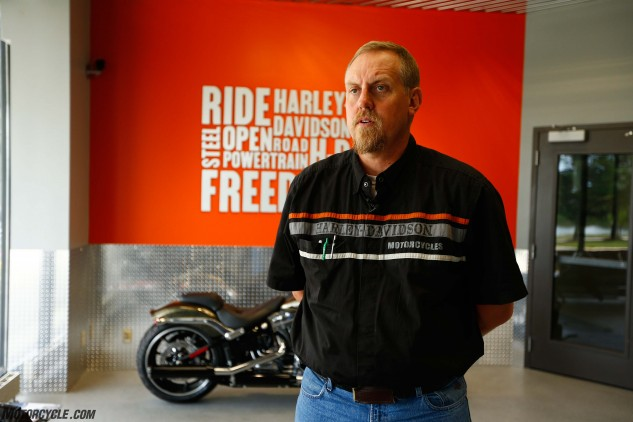 Due to ongoing renovations, we weren't allowed to get inside Harley-Davidson's Menomonee Falls, Wisconsin, powertrain operations plant, but we did get to spend a short time chatting with the facility's main man, Randy Christianson. A lifelong fan of the brand, Christianson says he bought his first Harley-Davidson when he was around 7 years old, and it is still in his motorcycle collection today.