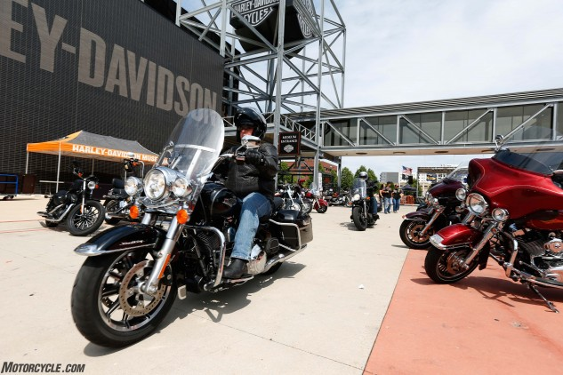 After our brief visit at the Menomonee Falls engine plant, we had just enough time to ride into downtown Milwaukee to see the Harley-Davidson Museum, a must-visit site if you appreciate meticulously restored motorcycles and want a mega-dose of Harley history.