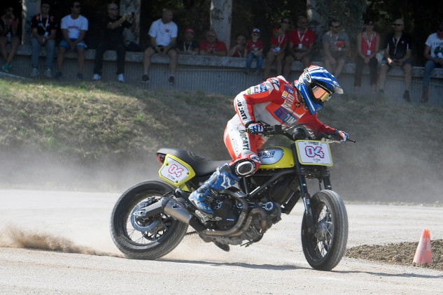 Andrea Dovizioso also went flat track racing, winning the star-studded Scrambler Flat Track race at World Ducati Week.