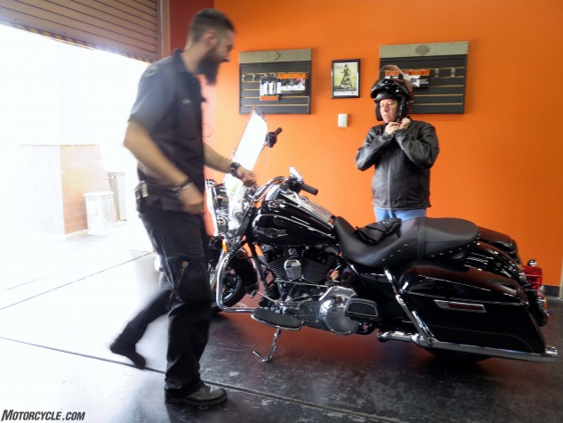 Meanwhile, Dirtbike.com's Scott Rousseau (who's also a huge Harley fan) prepares to hop onto a shiny new Road King at Chicago H-D.