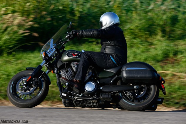 Though the Gunner is much lighter and faster than the other two in a straight line, the H-D is in fact the nimblest of the trio and would be the bike you'd want for sporty riding. Here Big Dirty Sean tests the Victory's suspension in a corn field.