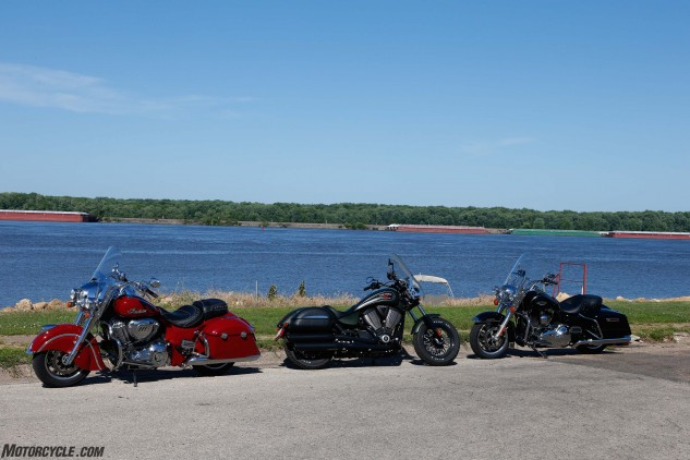 A trio of American Iron baggers on the east bank of the river, in Cibola, Iowa.