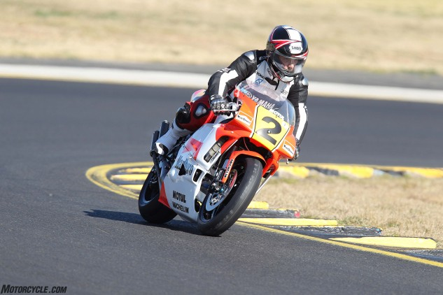 Mick Costin take the Rainey replica on its debut run at Eastern Creek Raceway. Sadly the Mitaka piston broke shortly after.