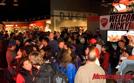 American GP rider Nicky Hayden is greeted by throngs of well-wishers.
