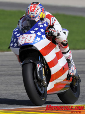 Hayden getting accustomed to the big power of the Ducati and its electronic rider aids.