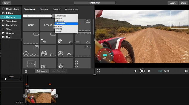 When you download your video to a laptop, all the G-Metrix data downloads with it. Once inside the Garmin Virb Edit software you can choose from a variety of preset overlays, or create your own custom layout.