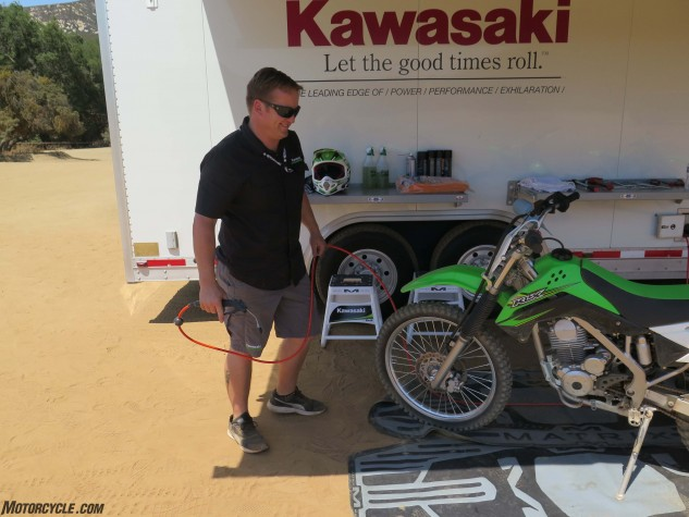 Kawasaki's Aaron Lach can blow clean a dirtbike in under 40 seconds flat.