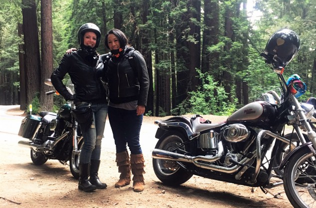 Litas South Bay co-founder, Stacy Haggett, and the story's author, Jessica Kline, cruise through the redwoods in Northern California.