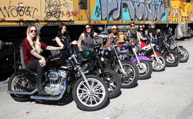 Any woman on any type of bike is welcome to join the Litas. Jenn, the head of the L.A. Litas, is in the foreground.