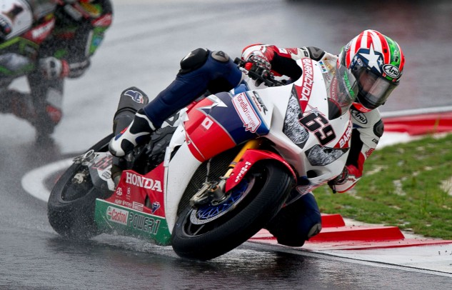 Nicky Hayden scored his first WSBK win of the season on the current CBR1000RR superbike in a wet Race 2 at Sepang.