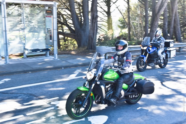 Sarah Van Buren rode a Kawasaki Vulcan S from New York City to San Francisco.