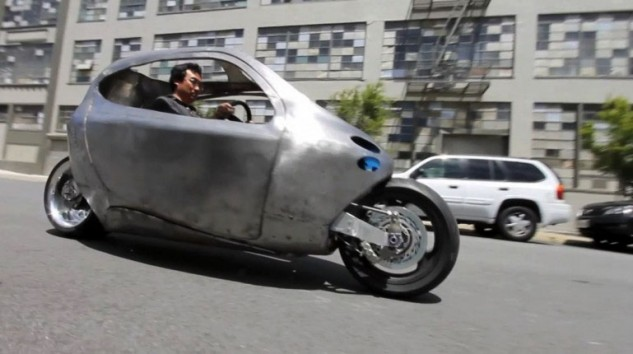 Daniel Kim, CEO of Lit Motors, driving his creation. This photo was taken two years from now, when the first customers might take delivery of their $24,000 C-1 scooter.
