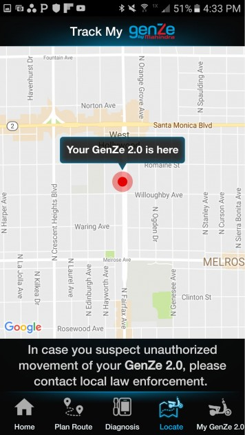 One of the more interesting features of the app is the ability to locate your ride via GPS. Handy if you forgot where you parked, especially so if you're the victim of theft.