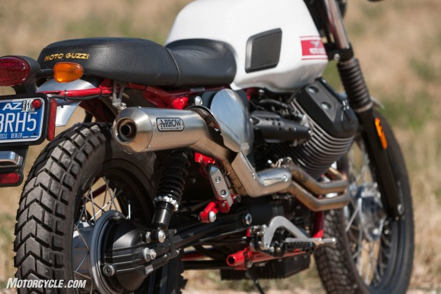 The knobby tires add to the scrambler styling while giving a modicum of dirt performance.