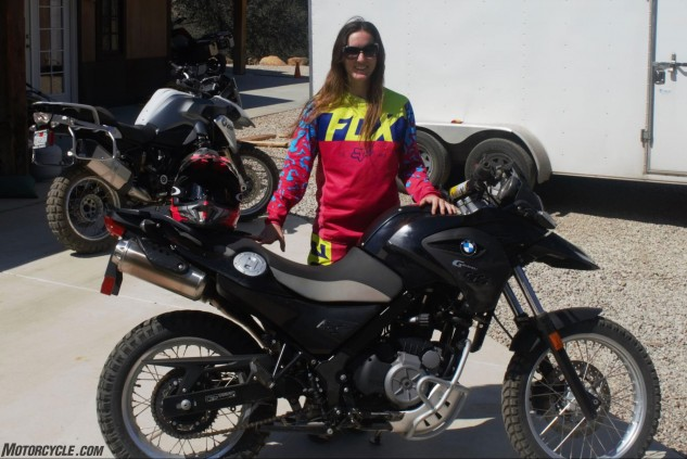 Michelle was excited to ride BMW's G650 GS for the basecamp adventure, as it was sized quite well for her small frame.