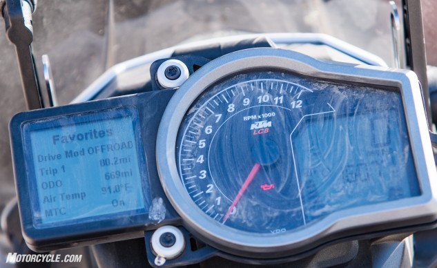 "KTM's instrument cluster is simple, and accessing the various electronic settings are straight-forward once you've done it a few times. The ""Favorites"" can be manipulated to display whatever information is pertinent to your situation."