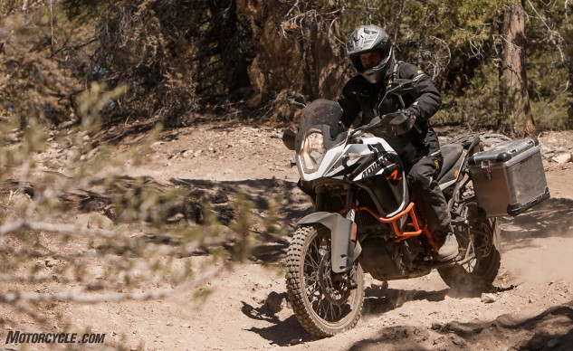 What was hard on some of the heavier, less dirtable bikes was easy on the KTM. The tires helped, no doubt, but it's the weight of the KTM (565 pounds) that really makes a difference – the BMW, Duc and Yamaha are all in excess of 600 pounds, and that's a lot weight to have off-road on two wheels by anyone's standards.
