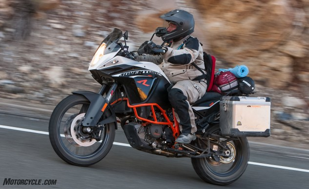 Light makes right, right? The R is the more dirtable model of KTM's two 1190 Adventure bikes. Not as powerful as the Ducati but weighing significantly less gives the KTM impressive thrust on the street while being far more manageable when off it.