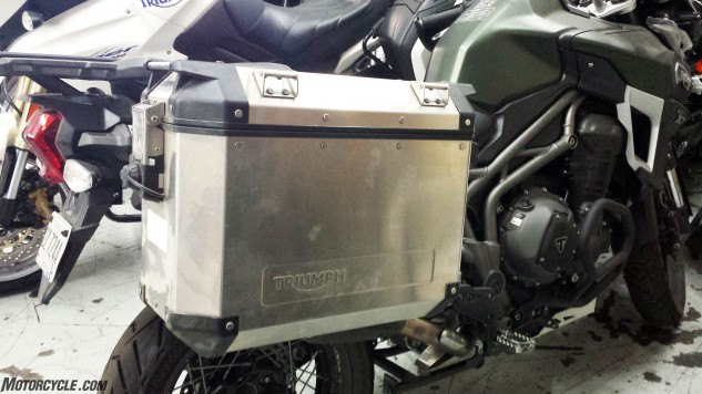 Although unable to get hard luggage mounted prior to our trip, we did take time to inspect the bags post-ride. The silver aluminum bags and mounting hardware add $1,250 to the Tiger's price tag, but are attractive, rugged and hold 19.6 gallons.