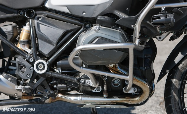 """""""The Boxer motor oozes low-rpm torque and is extremely tractable,"""" says Rousseau. """"Throttle response is clean. You don't need to rev the GS to get where you're going; just pick any gear and the engine pretty much takes up the slack. It is extremely easy to ride fast or slow."""" Note the scratches on the engine guards. MO tested, MO approved!"""
