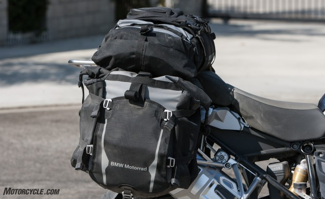 The Atacama Adventure Luggage System on our test bike is new from BMW, and the only soft luggage in the test. Both the saddlebags and the top case are waterproof, durable, much lighter and more flexible than hard luggage. The top case includes backpack straps, and is large enough to fit a tent, sleeping bag, pillow and bed roll.