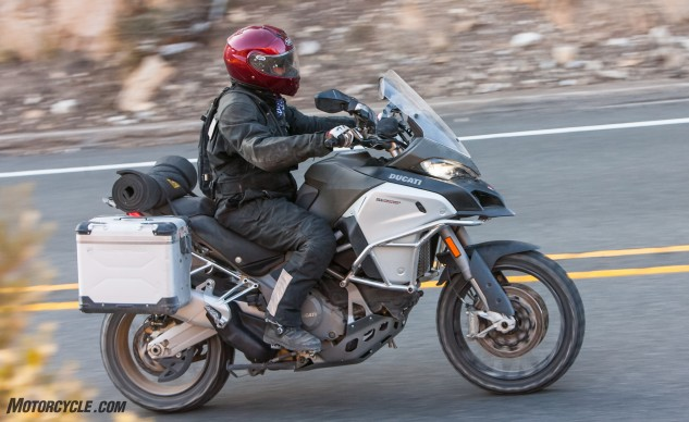 Ducati got dirt-serious with the Multistrada Enduro, but it hasn't lost much of its street chops. The heaviest bike in the test, the Multi still makes quick work of straightening corners and breaking speed limits.