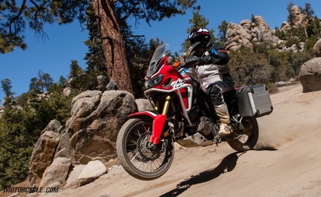 For the money Honda's asking for the Africa Twin, you just can't go wrong. Whether you're a dirt guy or street guy, the Honda handles both equally. ABS and TC are switchable (although TC always reverts to level 3 when the bike is switched off), and that's about it for electronics. It's windscreen, unlike the others, isn't adjustable for height.