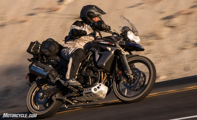 The most dirt-oriented Tiger 800 in Triumph's lineup, the XCx, was lauded as an exceptionally sporty street machine. The inline-three-cylinder engine can take a lot of the credit, as Triumph Triple streetbikes are well-loved by the MO brigade.