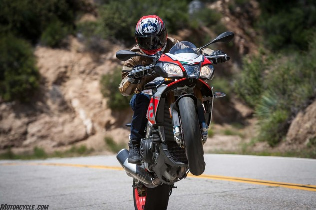 In the Features department the Aprilia boasts a quick-shifter but no cruise control, the Yamaha just the opposite, and the EBR is void of electronics except traction control.
