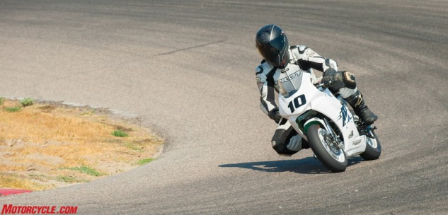Without much horsepower, the minibike rider is forced to learn how to maximize their momentum and corner speed.