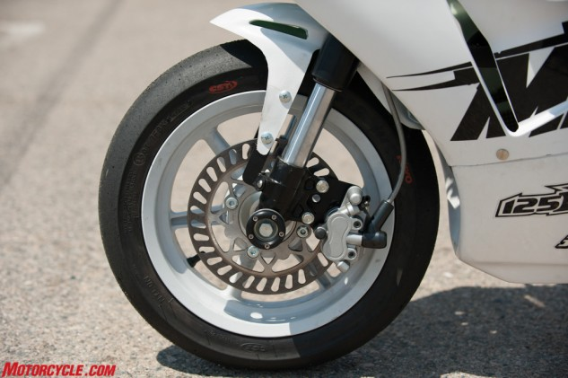 Slick tires and steel-braided lines are especially impressive considering the Kayo's modest price. However, the lack of surface area on the brake rotor is a bit of a surprise.