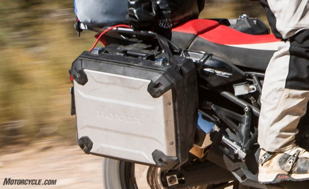 Not as nice or as rugged as the hard luggage attached to the other bikes, the Honda's bags deserve some props for their continuing endurance after the right one was ripped from its mounts following my Evel Knievel impression. Check out those snazzy chrome latches!