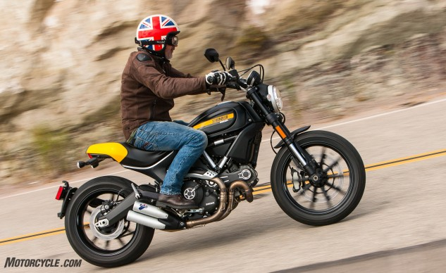 Disregard the Union Jack on JB's lid. He's confused. The Ducati Scrambler is all Italian. Well, if you disregard the built-in-Thailand thing.