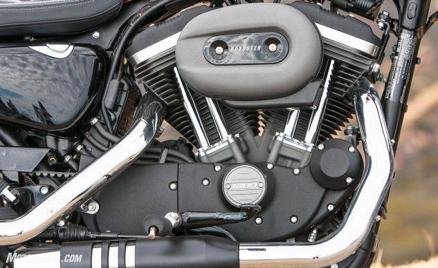 The Roadster might be a different take for The Motor Co., but the 1200cc Evolution engine is unmistakably Harley-Davidson.