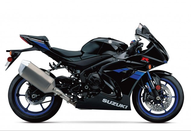 Know the upmarket GSX-R1000R by its blue anodized BFF fork tubes in this black version (there'll probably be a blue RR, too).