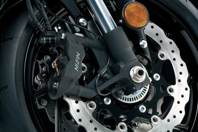 We complained about the cheap front brake; Suzuki shut us down with the addition of these nice 310mm petal discs and radial four-piston Nissin clampers.
