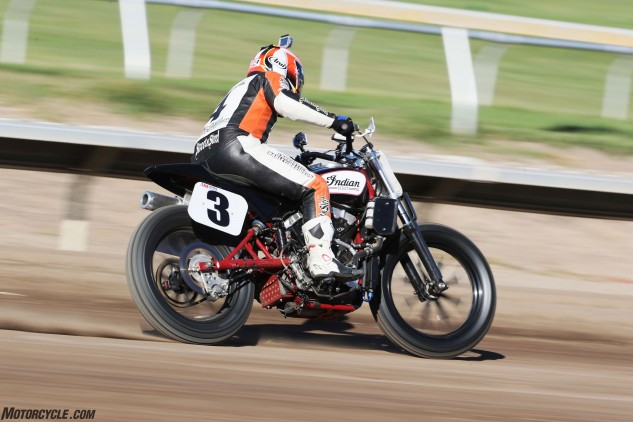 Even on the rough and sandy Santa Rosa Mile, Carr showed the form of the seven-time AMA National Champion that he is during our Monday test session. Carr reported that the Scout FTR750 possesses an amazing combination of linear power and a high-rpm thrust.