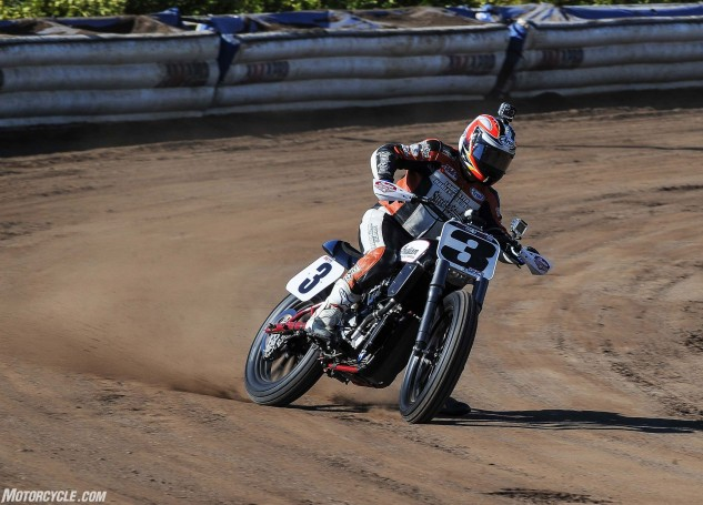 Carr noted that the Scout FTR750 felt slim but rode a little bit on the tall side, imparting a sort of hybrid feel between that of a 450cc motocross machine and a traditional flat-track motorcycle ergonomics.