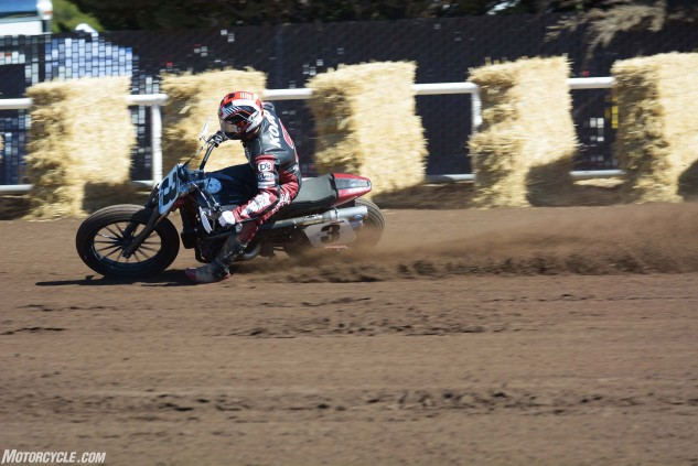Despite being away from the sport for the past couple years, Kopp didn't hesitate to let the Scout FTR750 rip on the deep Santa Rosa Mile track.