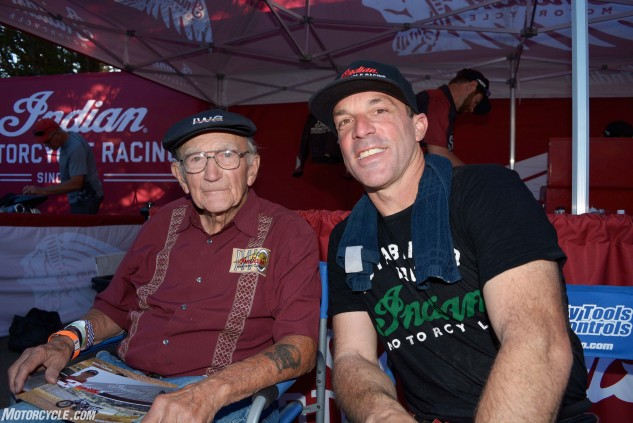 It's a generation thing: Bill Tuman (left) was the last man to give Indian an AMA National Flat Track Championship, winning in 1953, the same year that the original Springfield, Massachusetts-based Indian ceased motorcycle production. The 95-year-old Tuman was on hand at Santa Rosa to watch the Scout FTR750 makes its competitive debut.