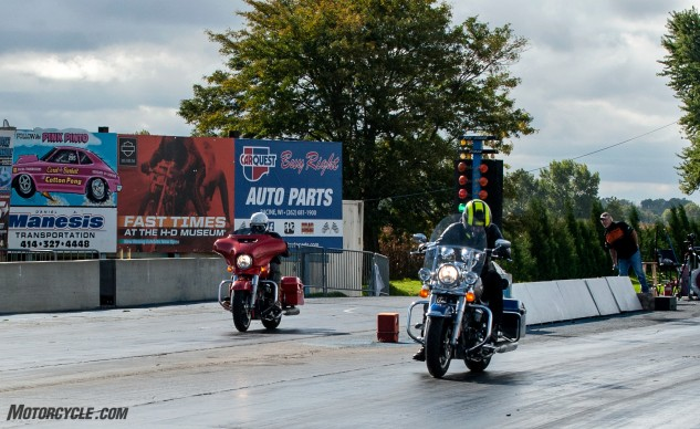 While the Road King with its Stage III kit (right) was predestined to beat the Street Glide with the Stage II Power kit (provided I didn't screw up), it should've been decided at the other end of the quarter mile. This blowout occurred in the first 60 feet as the Street Glide sputtered off the line from low fuel, resulting in a 28-second ET.
