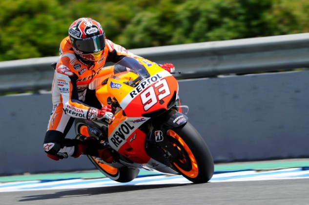 What Marquez really needs is a few bricks in the tailsection. This photo is from 2014, the pre-winglet era, which will be back again next year by mandate.