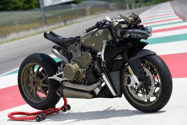 Here's Ducati's 1199 Superleggera unclothed and showing its magnesium frame that will be replaced by a carbon unit on the 1299 Superleggera. Aluminum swingarm and wheels will also be replaced by carbon components.