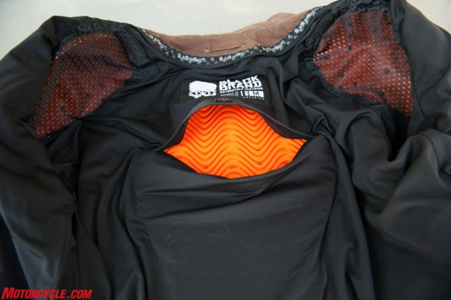 D3O padding remains pliable under normal conditions and hardens upon impact. The orange protectors come standard on the Street Team in the elbows, shoulders, and back.