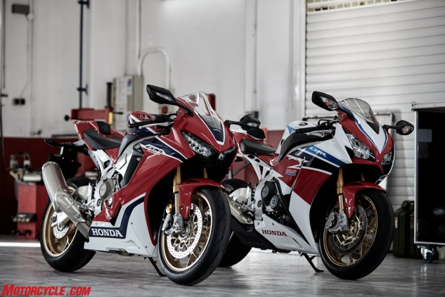 New and old CBR1000RR SPs together. While not revolutionary, the new SP is a big step forward in the evolution of the CBR.