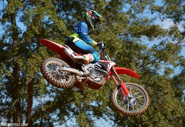 We sampled the CRF450R at Monster Mountain in Alabama. Test rider Nic Garvin enjoyed flying the CRF450R through the trees at the picturesque venue.