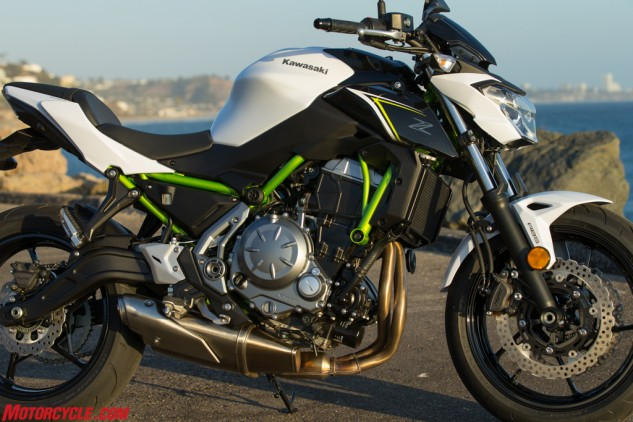 Trellis frames are all the rage, and despite how minimal the one seen on the Z650 is, its green finish attracts attention.
