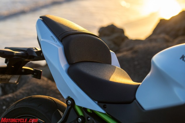 The Z650 may be inexpensive, but it's not cheap. Take the seat, for example. The textured cover helps the bike look far classier than its price would indicate. As for the seat itself, it's narrow junction at the front makes reaching the ground a breeze. There's also plenty of room to move about, especially in the broad rear section.